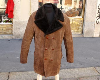 Sheepskin leather Vintage Size XXL men's coat