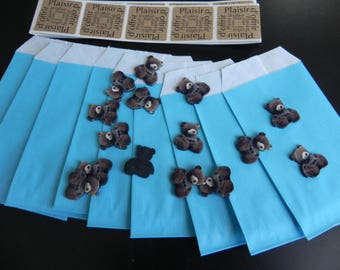 Resin BAPTEME:ANNIVERSAIRE boy Kit for 15 people with bears, bags and labels