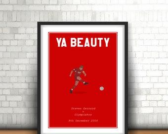 Steven Gerrard Minimalist Liverpool Art Print 'Ya Beauty'