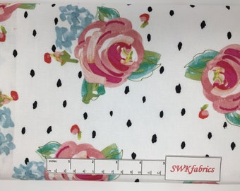 Watercolor Roses and Dots Fabric, Floral Fabric, Fabric by the yard, Fat Quarter, Quilting Fabric, Apparel Fabric, 100% Cotton Fabric, F-3