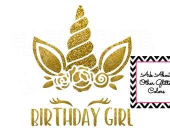 Unicorn Birthday Girl Party Personalized Glitter Vinyl Bling Girly Girl/ Iron On Decal Glitter Disney Iron Vinyl Decal for shirt