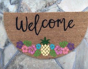 Tropical Themed Doormat | Hand Painted Doormat | Personalized Doormat