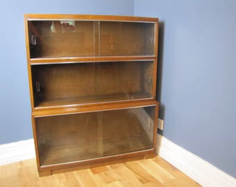 Oak Minty Stacking Sectional Glass Front Bookcase 1930's