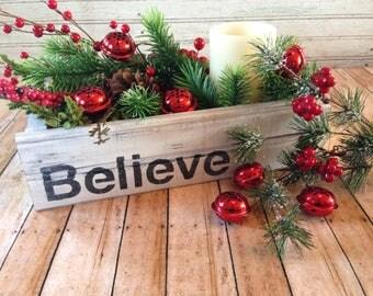 Believe Crate, Farmhouse Decor, Christmas Centerpiece, Farmhouse Christmas, Mason Jar Crate, Christmas Gift, Primitive Christmas