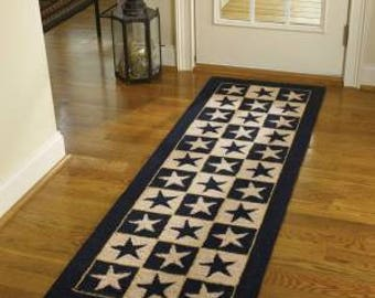 Black Star Hooked Rug Runner