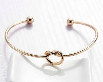 Love Knot Gold Bracelet, Love Knot Bangle , Love Knot Jewelry , Bridesmaid Gifts , Tie the Knot , Tie the Knot Bracelet