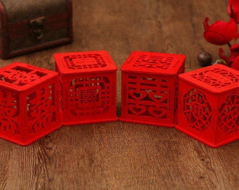 150 x Wood Wedding Favor Box - Double Happiness in Laser Cutout  - Chinese Wedding - Red - 4 Designs