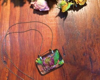 Wildflower Resin Necklace; Wildflower, floral, pressed flower, clear resin, short necklace, dried flower