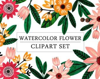 Watercolor Flower Clipart Set   Digital Clipart Set