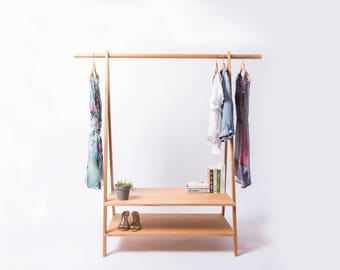 Victorian Ash Clothes Rack and Shelves