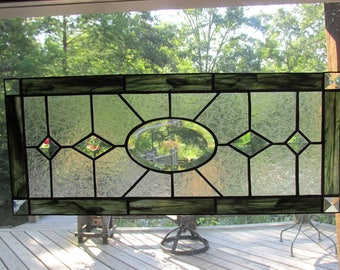 Stained glass, transom window panel, bevels, beveled glass, green, textured glass, handmade