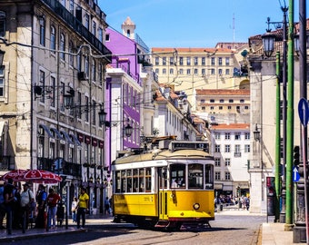 Lisbon Photography - Lisbon Trams - Lisbon Art - Lisbon Wall Art - Yellow Trams - Fine Art Photography  - Lisbon in Colour - 0111