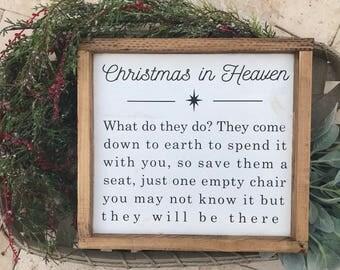 Christmas in Heaven, Christmas Gift, Christmas Wood Sign, Vintage Christmas Sign...
