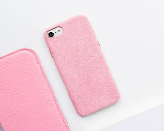Pink Felt iPhone Case iPhone 7 Case iPhone 7 Plus Case iPhone 6/6s Case iPhone 6 Plus Case Natural Pink Felt Minimalist iPhone Cover Fuzzy