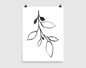 Black & White Botanical Print, Black and White Wall Art, Botanical Wall Art, Scandinavian Print, Botanical Illustration, Minimalist Art