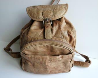 Vintage Brown Backpack, Faux Leather Midi Backpack, Vegan Midi Rucksack, Midi Backpack
