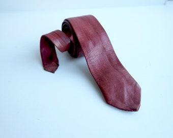 Vintage Leather Skinny Tie, Red Tie, Blood Red Leather Necktie, 1980s