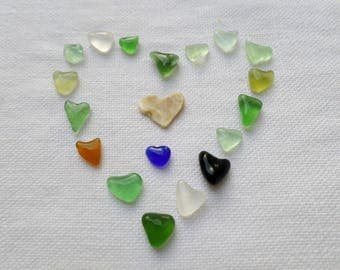 Colorful hearts, tiny heart seaglass. 18 tiny hearts ideal for making table or collection