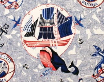 American Coast Loast at Sea in Tea from Alexander 7896bf ship sea captain whale mermaid blue and red ship quilting cotton fabric yard