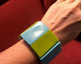 SALE Vintage 80s Resin Chunky MOD Cubist Bangle / Strech Retro Blue-Green Bracelet