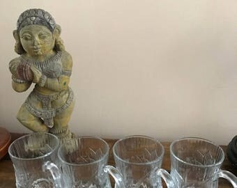 Sale 4 Vintage Arcoroc France Canterbury Crocus 10 Oz Clear Glass Coffee Cups Mugs
