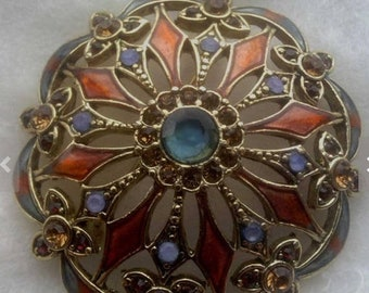 SPRING SALE Beautiful Vintage Signed Monet Enameled Brooch With Stones