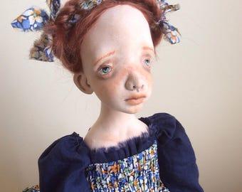 Art doll, Ooak art doll, Art clay doll, Handmade doll, Boudoir art doll, Red doll