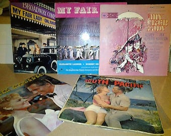 My Fair Lady and South Pacific Bundle - Five Lp Records