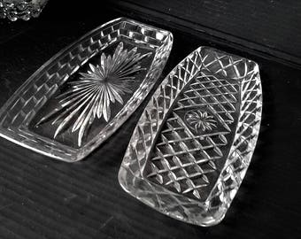 Pressed Glass Sandwich Plates - Choice of two designs
