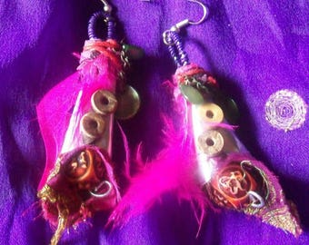 Tribal style tin can earrings