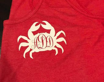 CRAB MONOGRAM /Left Chest/ Ladies Tank Top/Multiple Colors to pick from