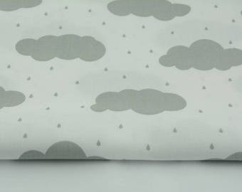 Fabric 100% cotton 50 x 160 cm grey cotton and fabric rain clouds, cloud pattern by