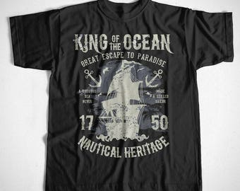 T-Shirt King of the Ocean S M L XL 2XL 3XL 4XL Navy Captain Boat Beach Sea