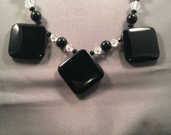 Black onyx, and crystal necklace 024