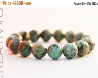 ON SALE African Turquoise stone 10mm - African Turquoise Bracelet, Green Beads Bracelet, Womens Bracelet, Mens Bracelet, African Turquoise j