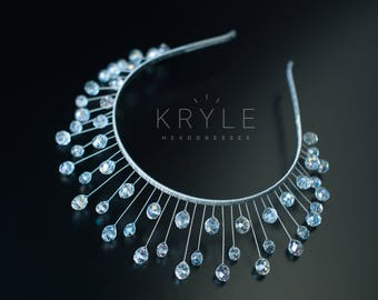 crystal tiara, wedding crown, bridal headpiece, crystal headdress, bridal hair vine, graduation headpiece, ball headpiece, hair accessories