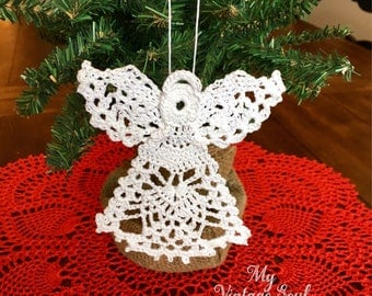 Crochet Lace Angel - Crochet Ornament - Angel Ornament - Christmas Decor - Vintage Home Decor - Farmhouse Decor - Country Christmas