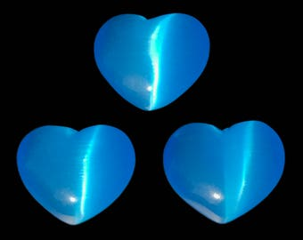 Lot of 3 Puffy Heart Bright Blue Fiber Optic Cats Eye Glass Pocket Hand Carved
