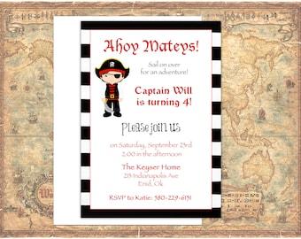 Pirate Birthday Party Invitation Printable, Boy Birthday, Ahoy Matey, Customizable