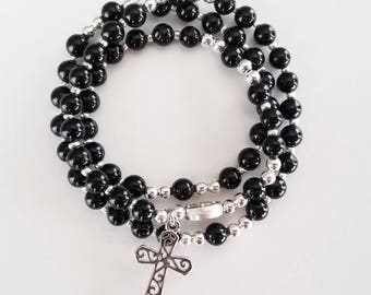 Black Agate Stretch Rosary Bracelet