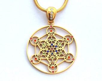 Gold Plated Metatron Pendant with Multi-colored Gemstones GMETP-GEM-01