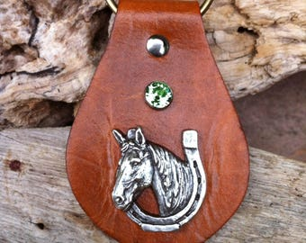 Leather keychain Horse, Horse, Keys, Leather Key Chain, Horse key fob, Leather key fob, Horse Keychain