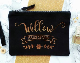 Bridesmaid Make Up Bag, Personalised Make Up Bag, Bridesmaid Gift, Personalised Cosmetic Bag, Makeup Bag, Custom Make Up Bag, Bride Tribe