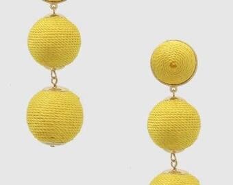 Bon Bon Earrings, Les Bonbons earrings, double Ball Earrings, Gumdrop Earrings, Yellow bon bon earrings