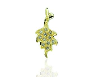 14K Yellow Gold Diamond Leaf Charm