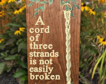 Cord of Three Strands Sign, Unity Cord, Unity Knot, Cord of 3 Sign, Wedding Sign, Rustic Wedding Sign, Unity Ceremony Sign, Wedding Ceremony