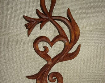 Wooden Treble clef, Treble clef Love,  Valentine's day gift , Carving wall love, Wood carwing clef,  Gift of love