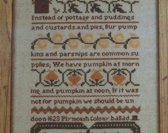 The Sampler House Pumpkin Sampler Eileen Bennett Cross Stitch Kit  Linen Fabric