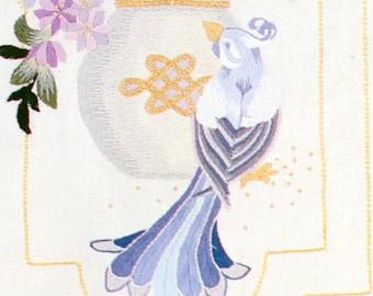 Elsa Williams Dynasty Chinese Watercolor Bird Crewel Kit Panel Bellpull LeClair