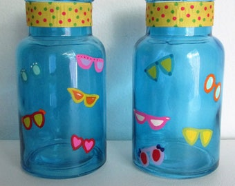 Hand-Painted Decorative Bottles, featuring Colorful Sunglasses and Polka Dot Ribbon Trim, set of 2